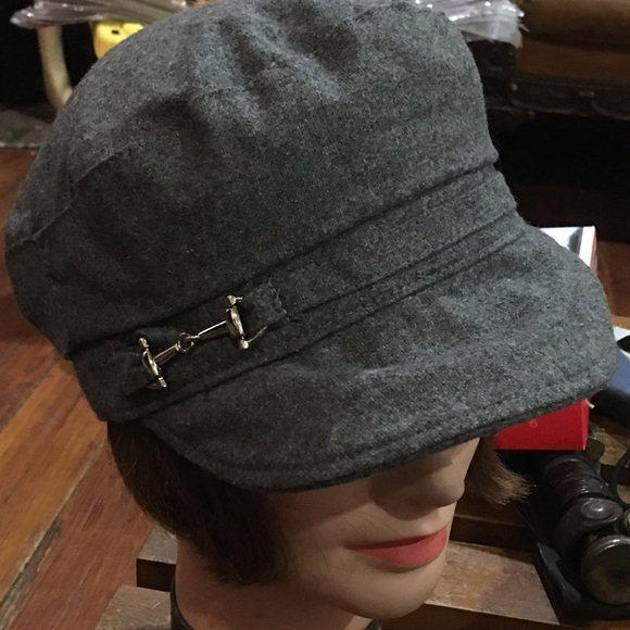 Grey wool conductor style hat 56b266bef77